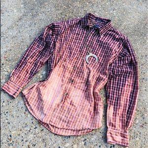 Ombré Bleached Plaid Shirt